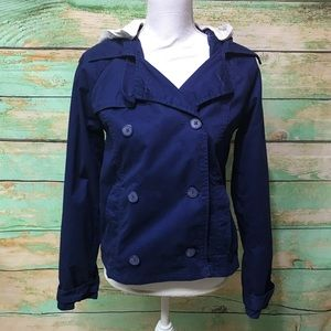 Hurley Hooded Double Breasted Pea Coat Royal Blue